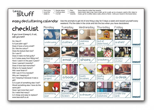 picture of decluttering calendar
