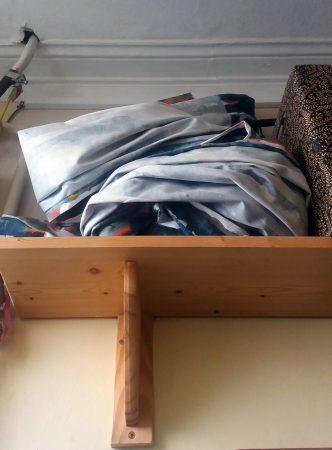 Curtain folded up