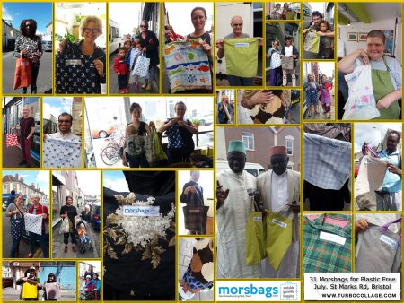 Morsbags given away on St Marks Rd, Bristol for Plastic Free July
