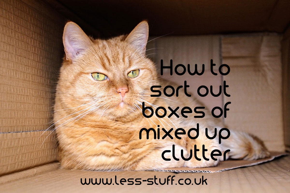 how to sort out boxes of mixed clutter