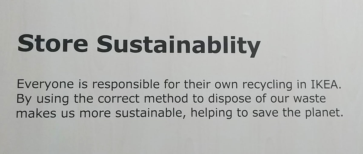 sustainability sign at IKEA